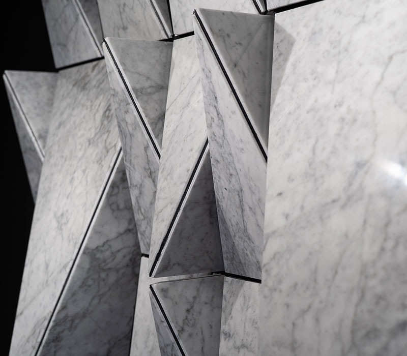 lightened marble geometric wall origami