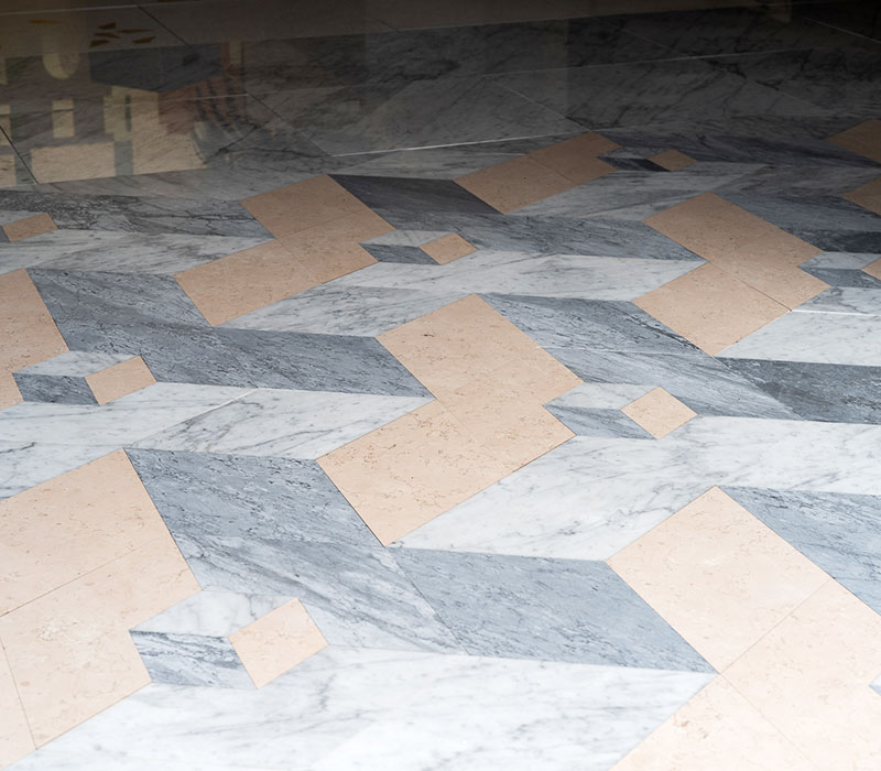 lightened marble geometric floor